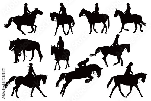 Ten horses with riders - 43855847