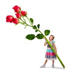 Kind mit Rosen - Blumen pflücken