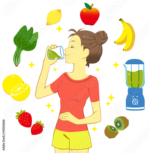 スムージーを飲む女性(白背景)