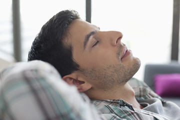 Close-up of a man sleeping