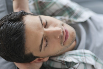 Close-up of a man resting