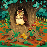 Fototapety Scene with owl. Cartoon and vector illustration.