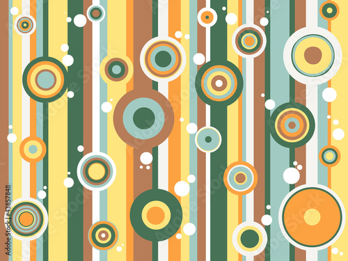 Retro background with circles - orange and green
