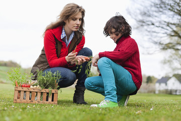 Woman and son looking at vegetables in a park