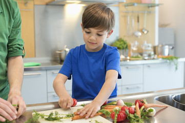 Boy cutting vegetables in the kitchen