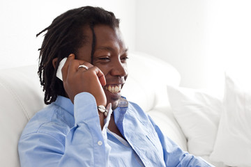 Black man talking on the phone