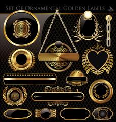 Vector set of black gold - framed labels