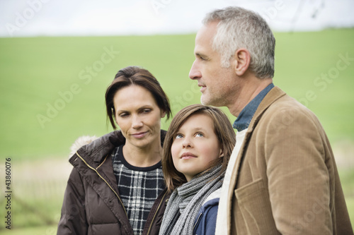 Happy family in a field