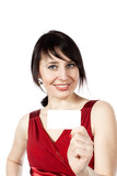 cheerful caucasian woman with blank business card