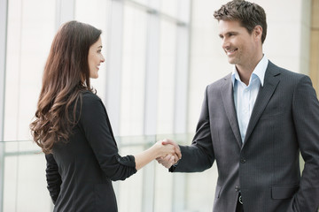 Business executives shaking hands in an office