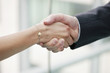 Close-up of business executives shaking hands in an office