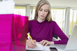 Businesswoman working in the home office