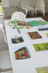Ecology sustainable development related photographs on a table