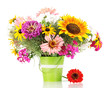 Beautiful bouquet of bright flowers in pail isolated on white