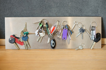 Assorted keys on a metal sheet
