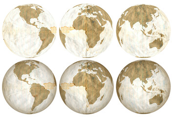 Earth made of used loose leaf, 3 flat and 3 with shading.
