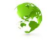 3D green globe US centered illustration