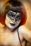 mysterious sexy woman with artistic style Venetian mask poster