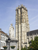 Statue and Cathedral of Mechelen, Belgium