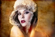 Artistic portrait of woman with fur hat