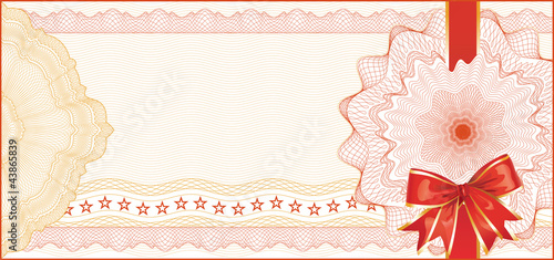 Guilloche Background for Gift Certificate with Red Bow