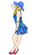 Bella donna in un elegante abito blu