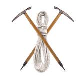 Gekreuzte Eispickel mit Seil