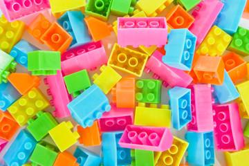 Background of plastic brick toys