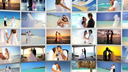 Montage Caucasian Couple Tropical Beach Wedding and Honeymoon