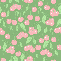 seamless pattern with cherries on a green background