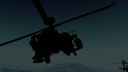 Apache AH-64D attacking helicopters in action  Realistic 3D rend