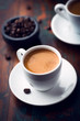 Cup of espresso coffee on dark wooden background