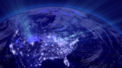 Earth from Space Lightstreaks over Far East view from outer spac