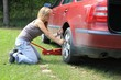 young blond girl puncture repairs