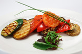Grilled vegetables, white background