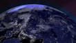 Earth from Space Lightstreaks over Europe view from outer space