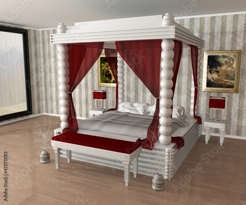 lit baldaquin photo libre de droits sur la banque d. Black Bedroom Furniture Sets. Home Design Ideas