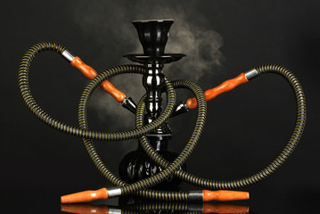 hookah smoke on black background