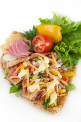 thin pancakes with ham, cheese and vegetables