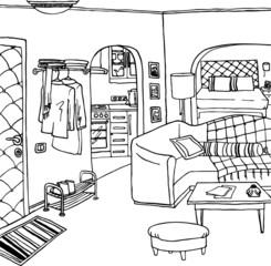 Interior of a bachelor's or single woman room
