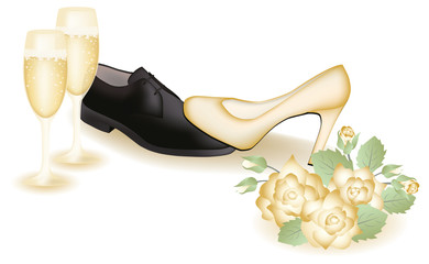 Wedding shoes and champagne. vector illustration