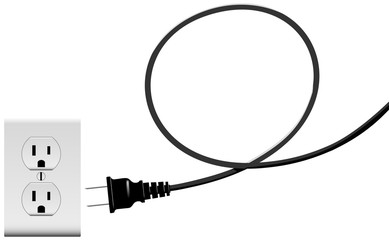 Plug in electric energy outlet copy space cord loop