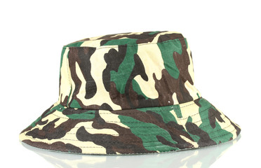 Military style hat isolated on white close-up