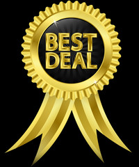 Best deal golden label with ribbons, vector illustration