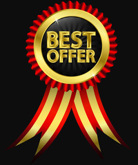 Best offer golden label with ribbons, vector illustration