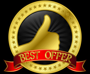 Best offer golden label with red ribbon, vector illustration