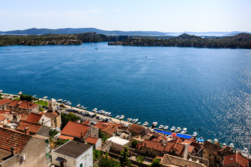 Panoramic View from the Hill on Sibenik and Dalmatian Islands, C