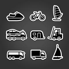 Set simple stickers transport
