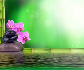 Stillleben aus Bambus, Orchidee und Steinen