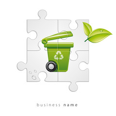 green abstract logo recycling